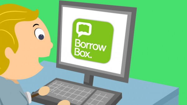 A child on computer with BorrowBox open on desktop.
