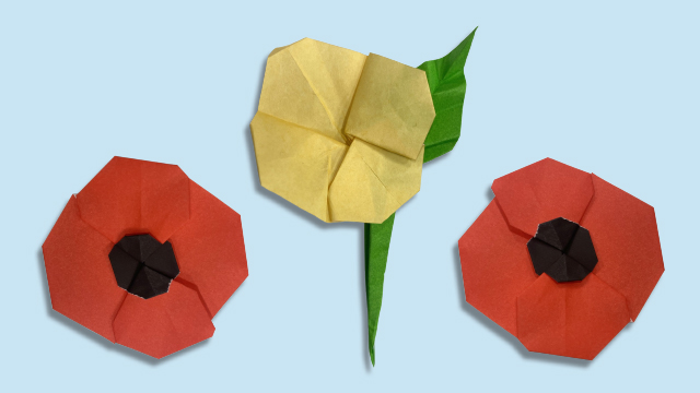 Origami poppies and other flowers